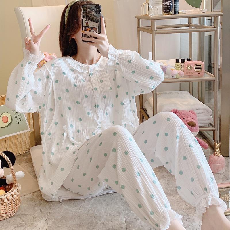 实拍月子服纯棉双层皱纱布孕妇休闲产前睡衣夏季产后哺乳喂奶套装