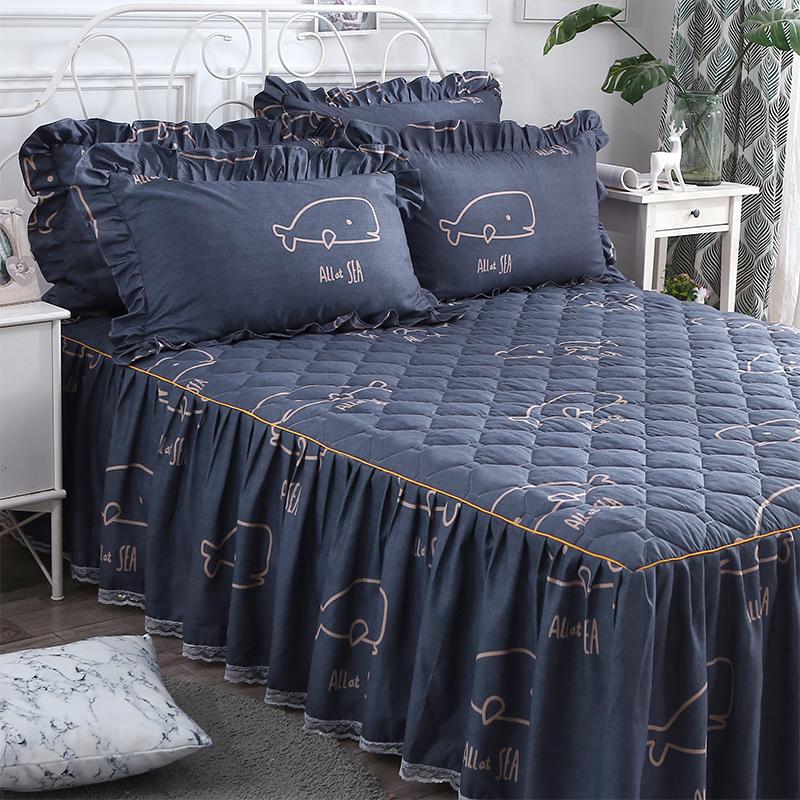 加厚夹棉床罩床裙式防尘罩单件防滑1.2m1.5米1.8床单花边保护床套