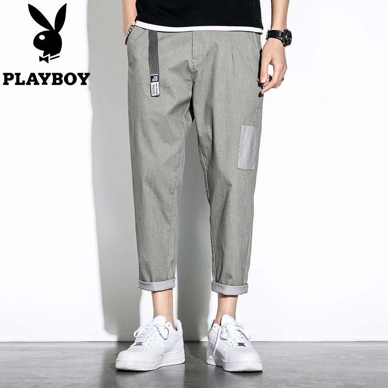 Playboy casual pants men's summer gray pants men's straight loose trend wild handsome nine-point trousers