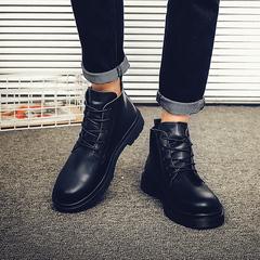 高帮皮鞋男士韩版潮流马丁短靴子英伦真皮百搭休闲中高邦鞋男-668