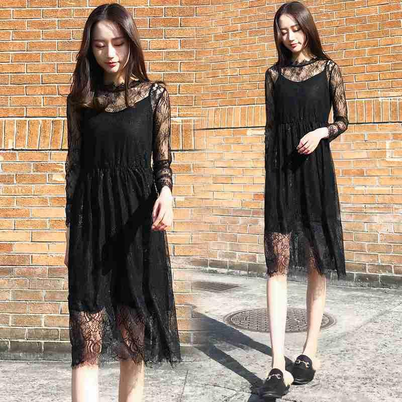 South Korean summer new middle dress womens black lace 7-point sleeve 2-piece set with thin and slim temperament, womens dress