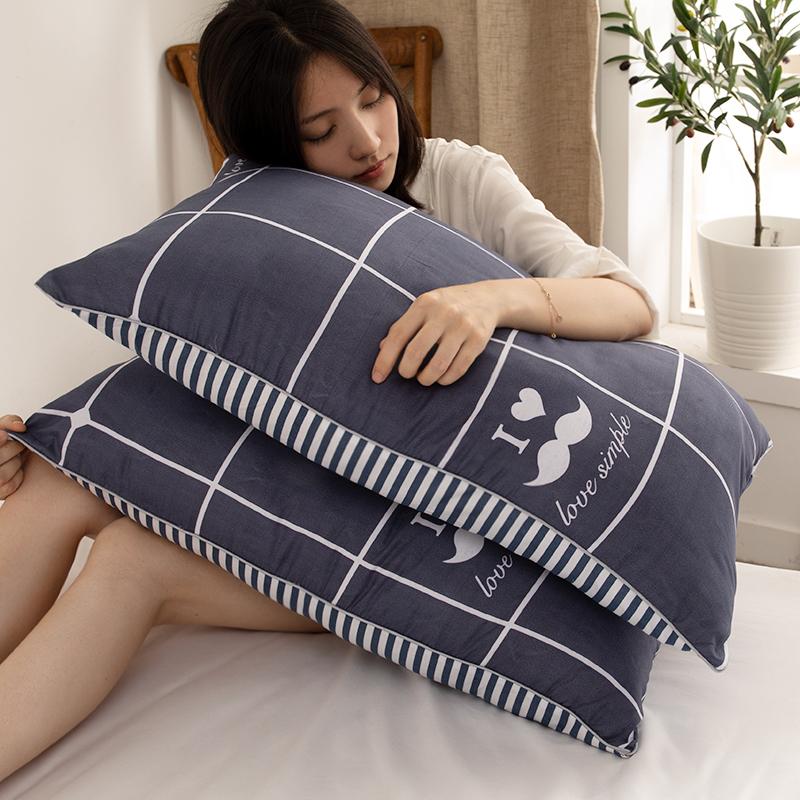 一对装枕头枕芯家用单人双人护颈椎学生宿舍简约整头睡觉专用男