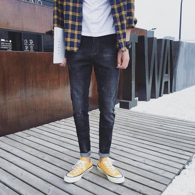 N48 秋装新款男士黑色牛仔裤男修身款小脚裤韩版复古长裤子潮 P55