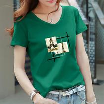 印花气质短袖t恤女墨绿色宽松大码mm韩版夏装纯棉V领半袖体桖上衣