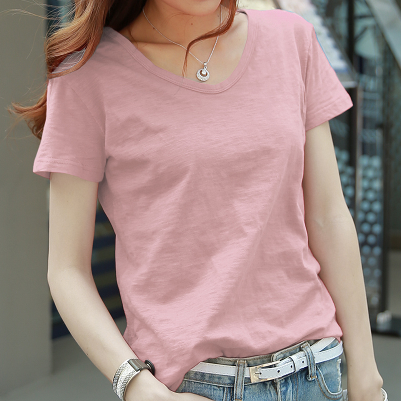 竹节棉t恤女短袖2020年夏季新款潮纯棉宽松韩版粉色上衣纯色体桖