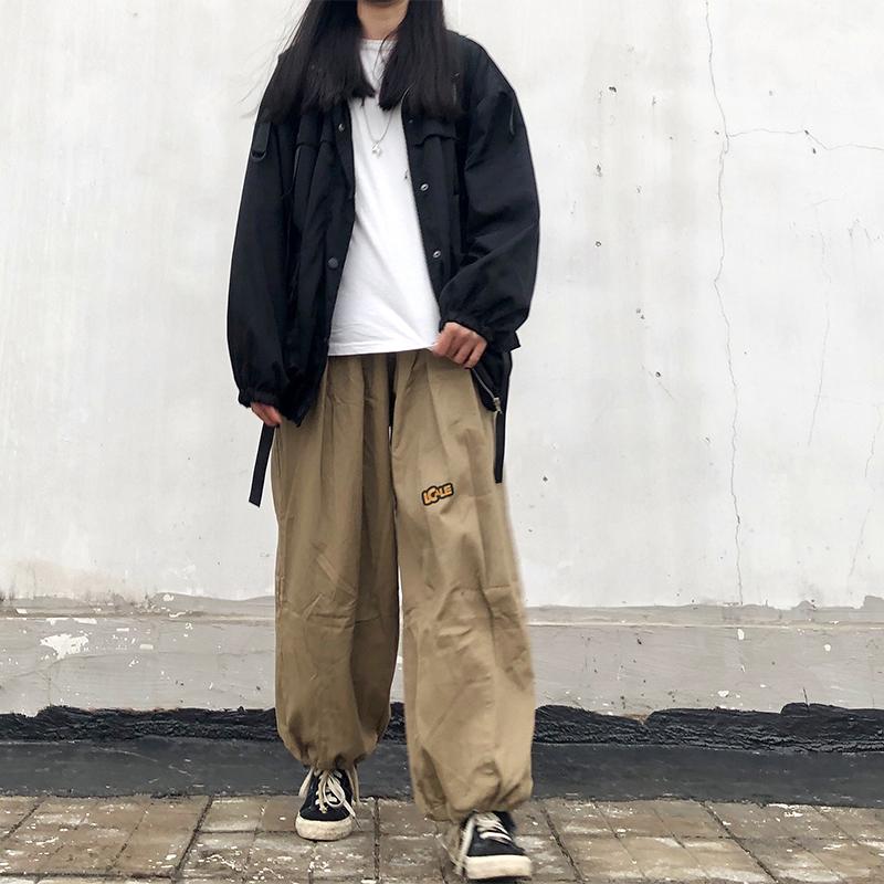 K182-P45 20春季新款ins廓形褶皱工装裤宽松阔腿裤抽绳休闲裤A