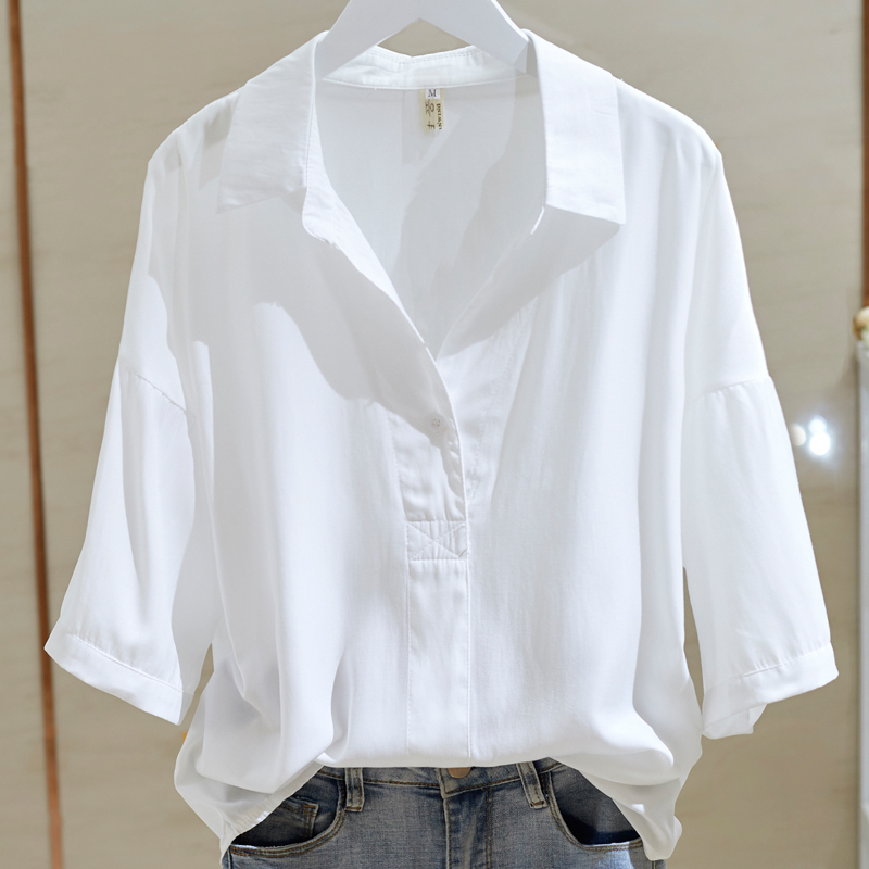 折扣专柜撤柜尾货短袖冰丝棉白衬衫