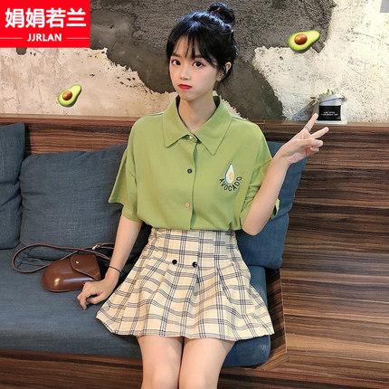 牛油果绿连衣裙两件套装裙子女夏2019新款初中学生韩版小个子短裙