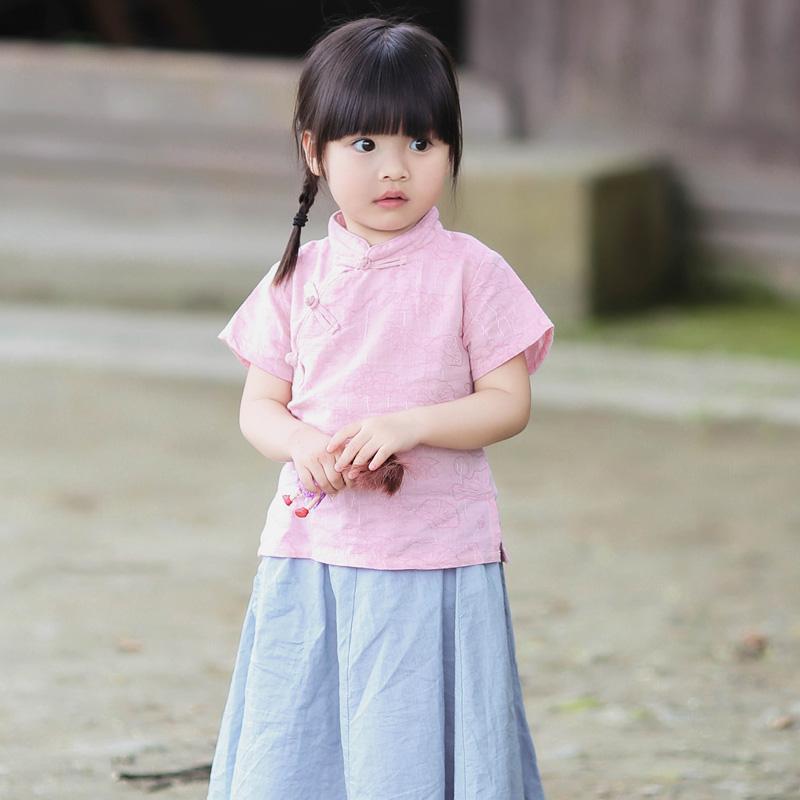 夏季女童改良汉服两件套装儿童民国风女宝宝夏款短袖复古中式裙子假一赔三