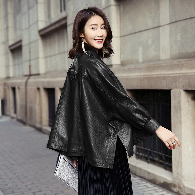 Leather leather women's short 2020 spring new loose Korean elegant big sheep leather fashion coat