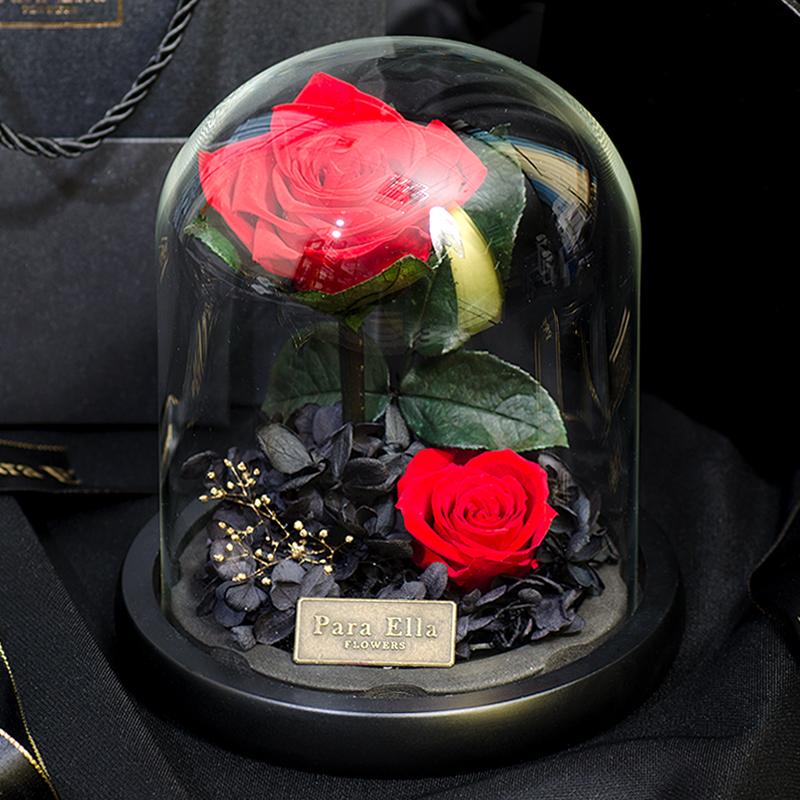 永生花礼盒玻璃罩摆件毕业礼物520生日永不凋谢的玫瑰花康乃馨