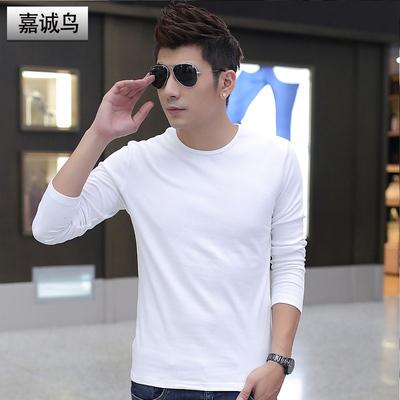 秋冬季纯色打底衫男士长袖t恤圆领男装上衣服加厚加绒保暖潮白色