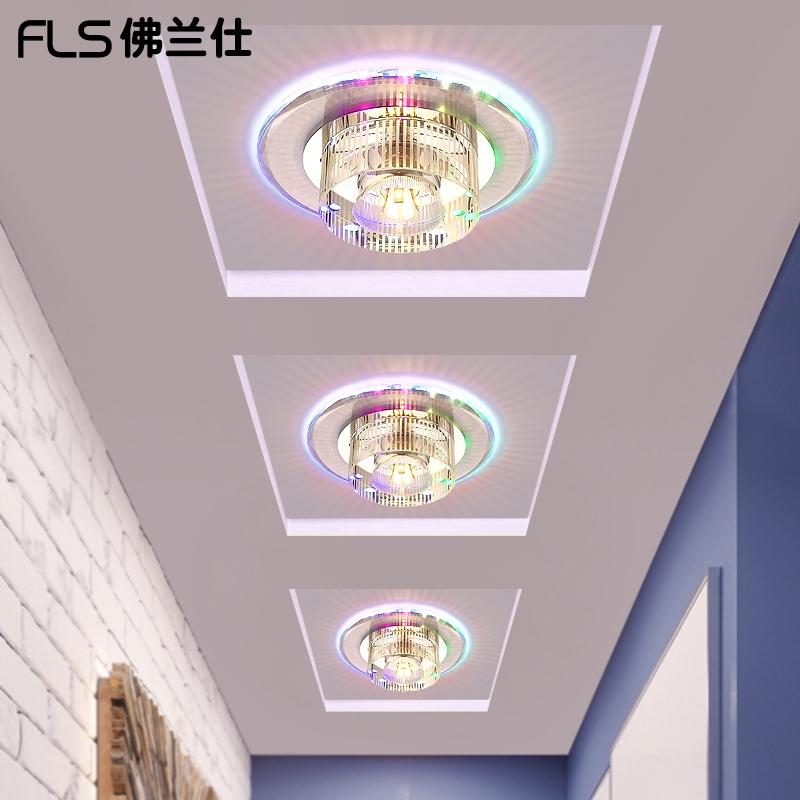 创意led门厅灯具现代简约水晶灯