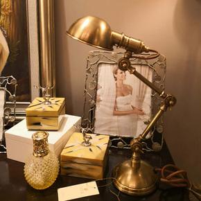 全铜美式台灯书房学习阅读铜台灯智能调光护眼纯铜台灯床头小夜灯