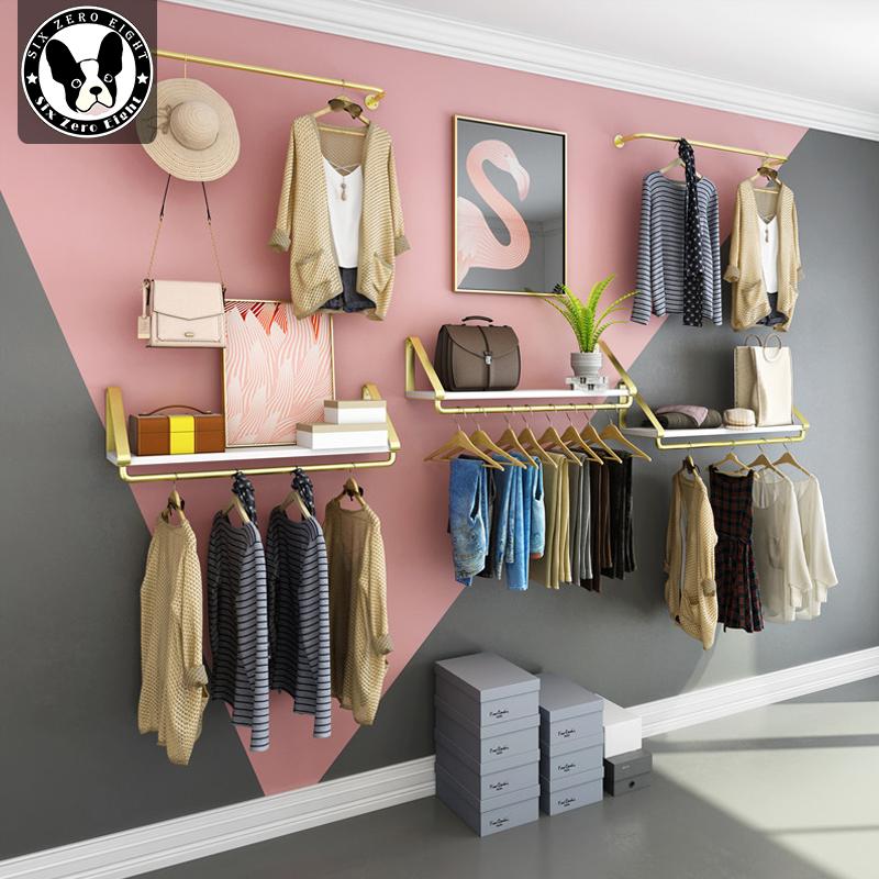 10月18日最新优惠金色女装儿童服装店展示架墙上货架