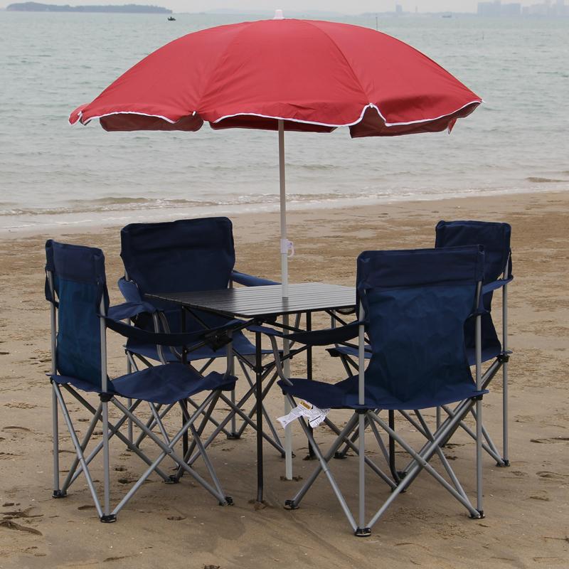 户外桌椅套装 折叠桌沙滩折叠椅组合套件 自驾游野餐烧烤折叠桌椅 Изображение 1