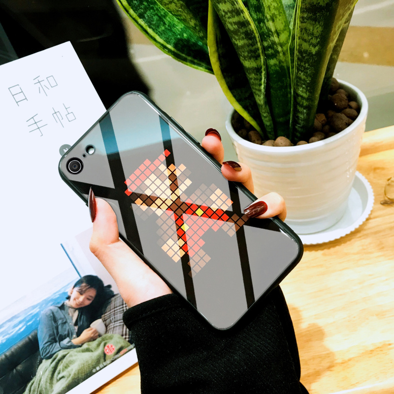 iphone苹果7手机壳8plus玻璃镜面7plus潮i8套iphone8保护套7p男8p硅胶超薄个性创意硬壳卡通新款数码散热高档