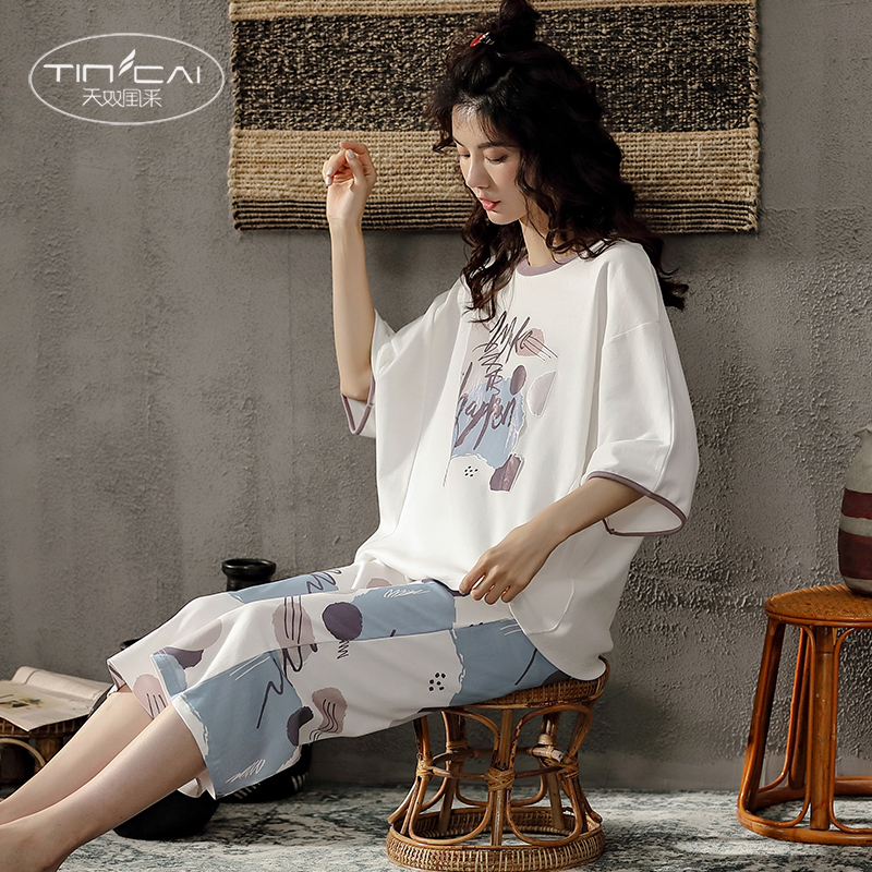 Pajamas womens summer new product loose size Capris short sleeve cotton can go out home wear spring and autumn two piece suit