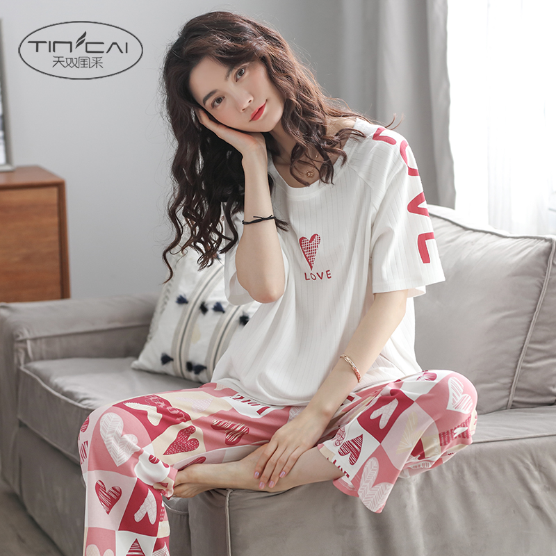 Love pajamas womens summer cotton thin short sleeve pants two piece suit Korean cute student loose home clothes