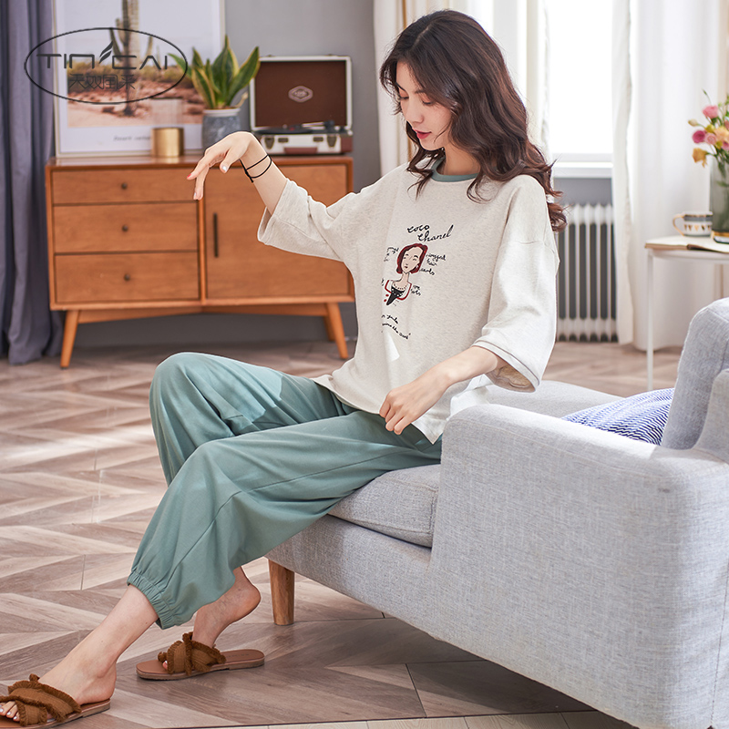 Pajamas womens summer cotton medium sleeve pants two piece suit, thin and lovely students home wear in spring and Autumn
