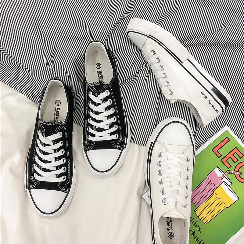2019新款夏款小白鞋时尚休闲鞋运动透气板鞋韩版系带高低帮男鞋