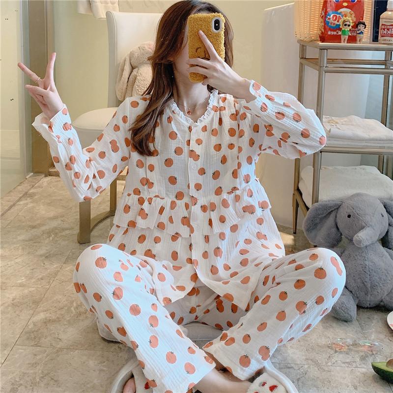 月子服春秋纯棉纱产后宽松薄喂奶哺乳睡衣夏季产后孕妇怀孕期套装