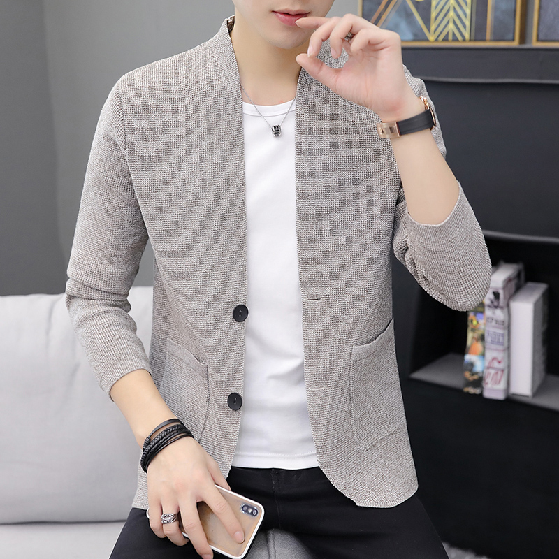 Autumn new style knitted cardigan mens thin coat casual solid color fashion button slim fit outer wear line clothes mens fashion sweater