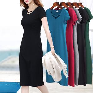 2021流行女装新款春夏短袖棉针织连衣裙打底紧身连衣裙长款小黑裙