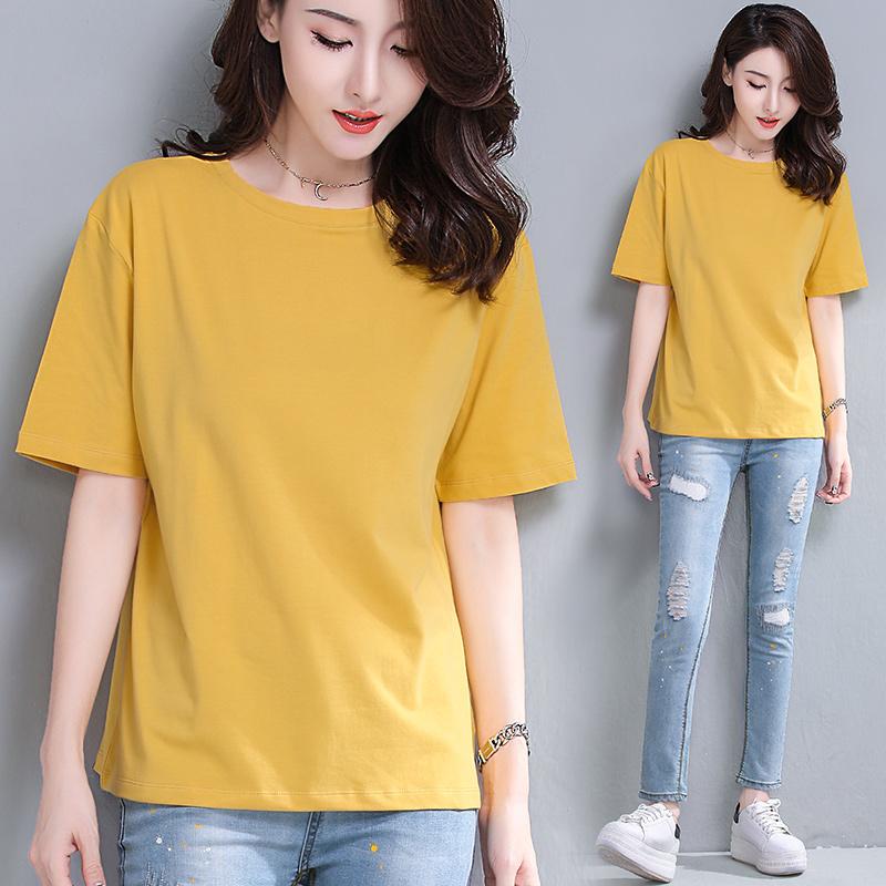 姜黄色落肩短袖t恤女夏宽松显瘦纯棉圆领纯色白色外穿休闲丅桖衫