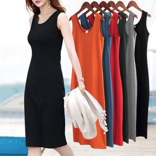 春装2021年新款女夏黑色背心裙中长款大码无袖吊带连衣裙内搭打底