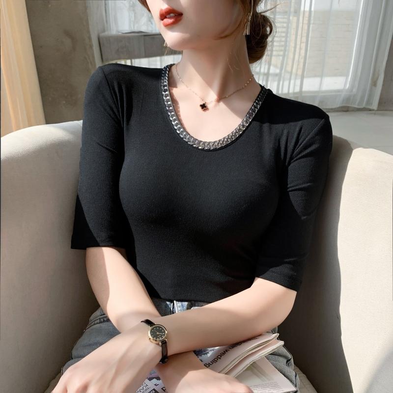 实拍#七分袖t恤女短袖2021年夏季新款中袖打底衫时尚洋气紧身上衣