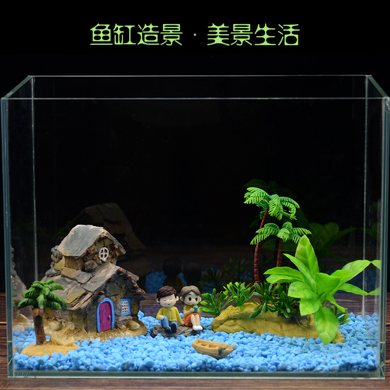 迷你小�~缸�b�造景套餐石子底砂假山仿真水草陶瓷�[件水族�b�物