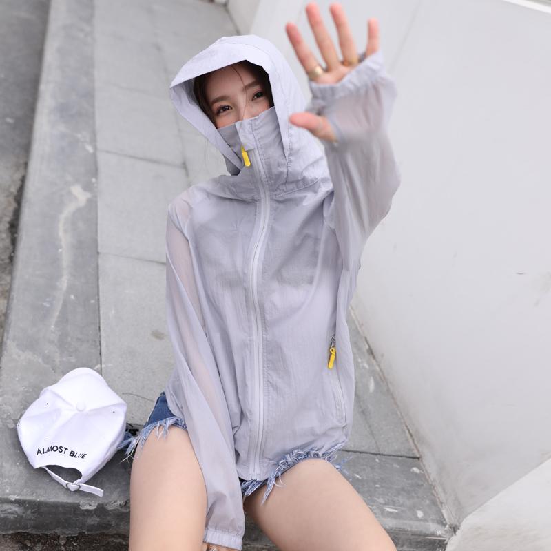 防晒衣女2020新款长袖韩版仙女短款防晒衫白色百搭薄外套女防晒服图片