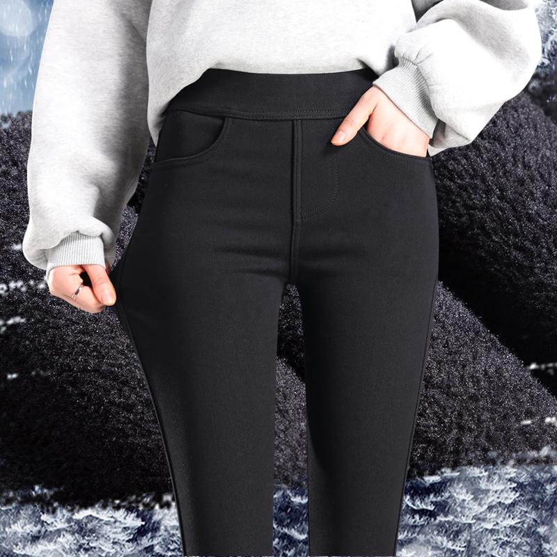 松紧加绒打底裤女外穿秋冬2020新款高腰铅笔小脚黑色加厚棉裤子