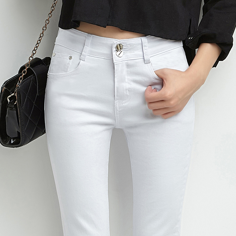 白色牛仔裤女春秋季2019新款显瘦韩版弹力裤子女紧身小脚裤铅笔裤
