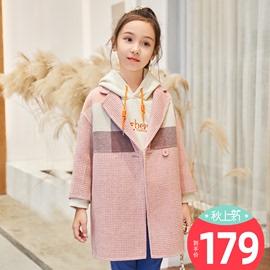女童双面毛呢大衣羊毛绒外套女孩中长款儿童格子韩版洋气春新装