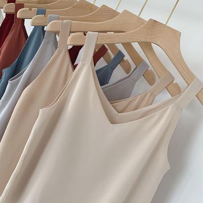 宽带v领吊带双层雪纺衫夏季新款外穿打底衫内搭宽松显瘦上衣
