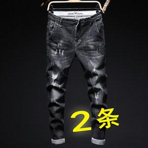 秋季破洞牛仔裤男补丁乞丐裤直筒宽松潮弹力修身青年男士长裤黑色