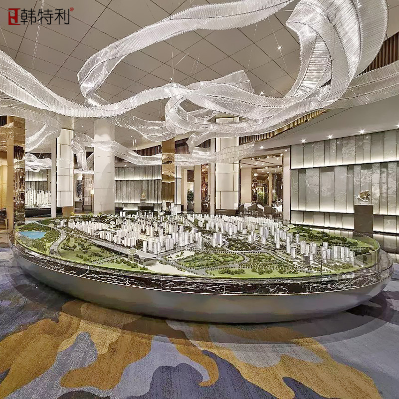 Special shaped ribbon crystal glass tube chandelier Sales Office sand table Club Hotel Hall large project customized lamps