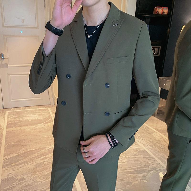 2020秋季新款韩版商务西装二件套休闲西服外套时尚男装TZ206-P225