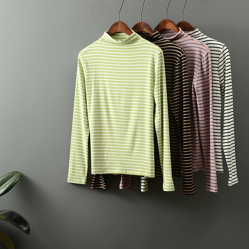 Striped half high collar base shirt womens autumn and winter new long sleeve T-shirt foreign style pure cotton slim fit Korean version with top fashion