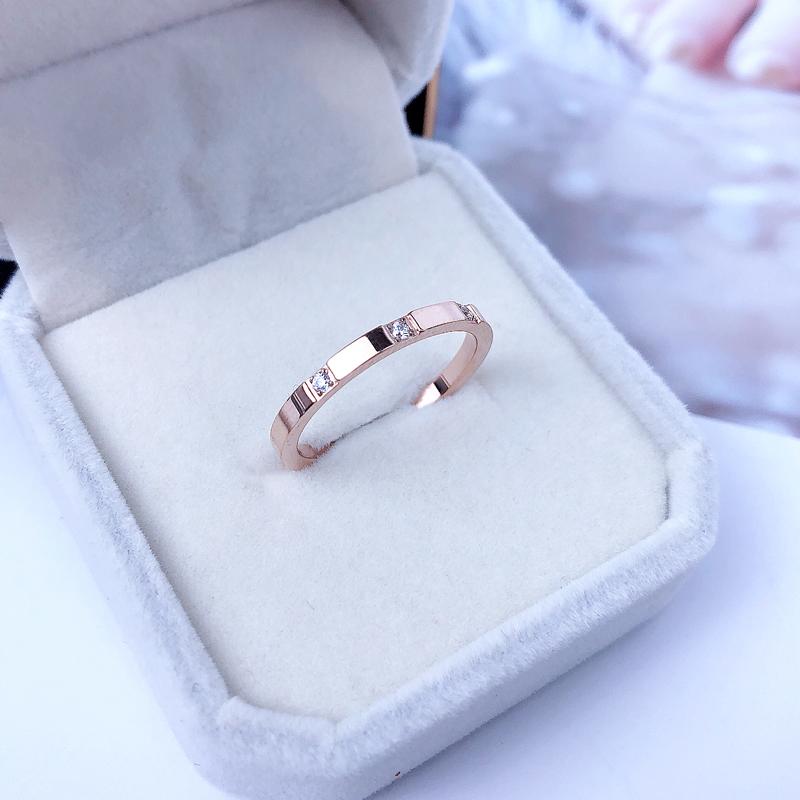 镶三钻戒指女食指日韩版ins潮人时尚个性网红钛钢18k玫瑰金不掉色