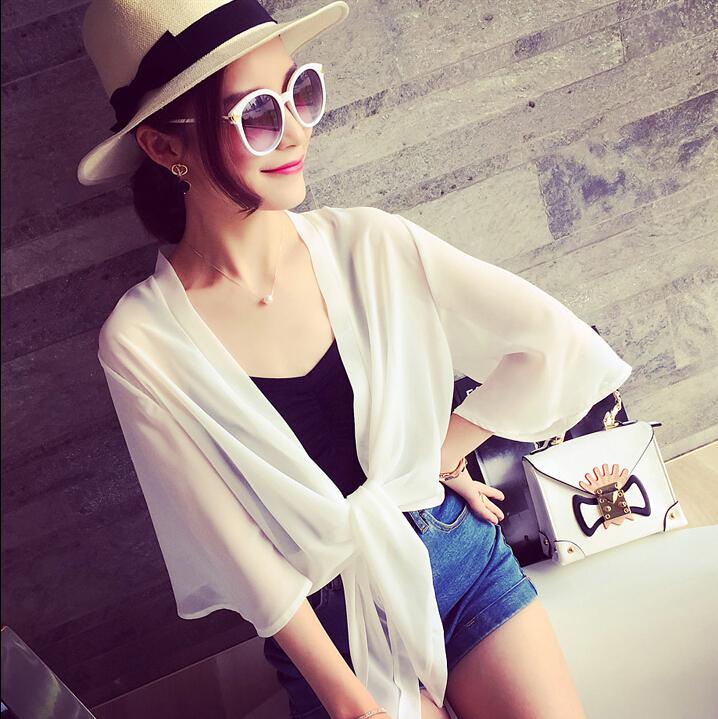 «Ежедневные specials» небольшая шаль женщин короткие шифон тонкий сплошной цвет в летнее время солнца защиты одежды пальто платье вне кардиган