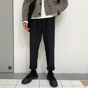 秋冬季裤子男韩版潮流黑色直筒裤男长裤加绒加厚百搭休闲裤男西裤品牌