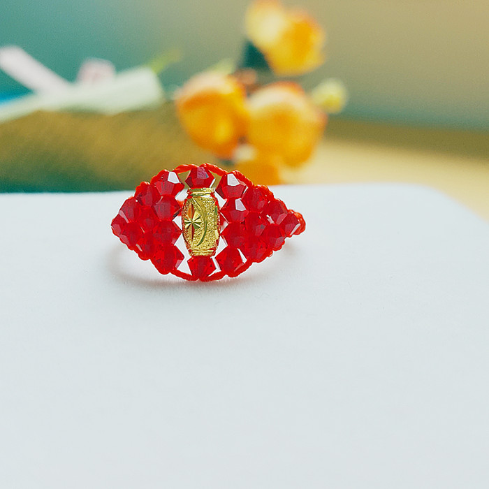 Hand woven imported Crystal 925 sterling silver color silver transfer bead ring / ring gift for women