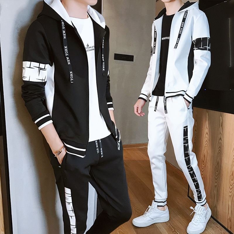 Young men's sweater suit, Korean version trend, two piece set, spring and autumn students' handsome clothes, one set for leisure
