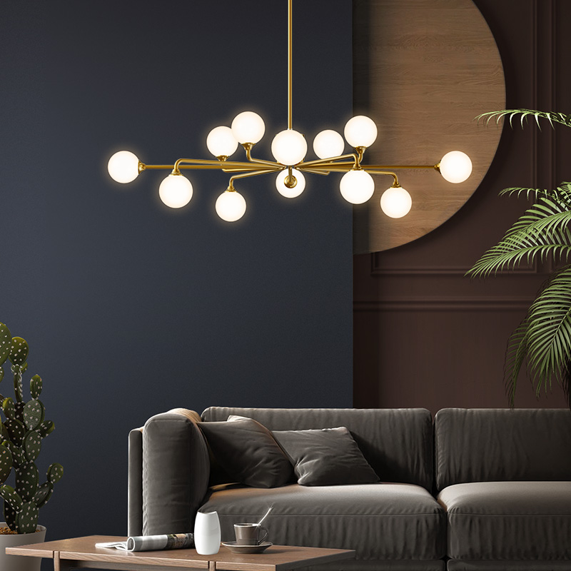 All copper living room lamp Nordic chandelier modern simple lamp atmospheric household dining room bedroom chandelier 2019 NEW