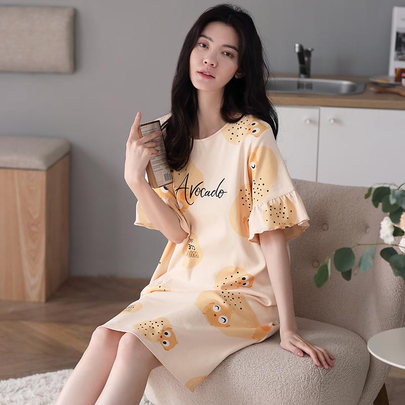 猫人夏季新款大码短袖纯棉家居服中长款裙学生可爱宽松吊带睡裙女