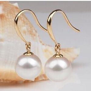 正品天然淡水母贝珍珠耳环耳坠耳饰正圆形黑白珍珠925银耳钩