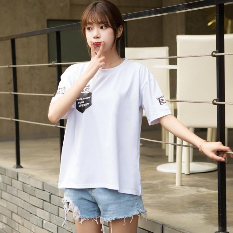 【2件45元】短袖女学生宽松韩版夏装2018新款衣服半袖上衣t恤白色